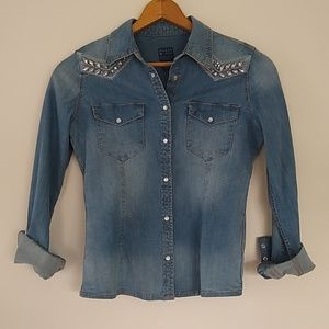 Guess LA denim shirt with jewel accents EUC XS